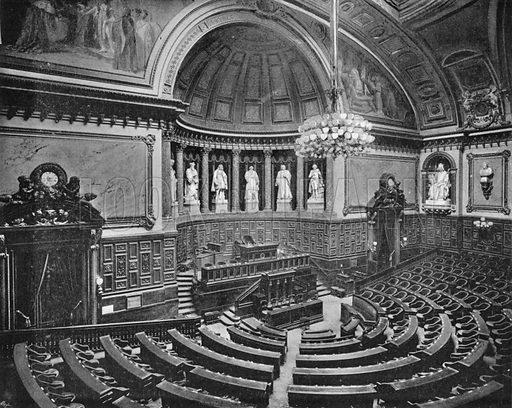 Palais du Luxembourg – Salle des Seances du Senat. Photograph for Le Panorama Merveilles de France (De Neurdein, c 1895).
