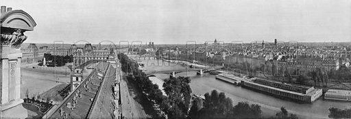 Paris - Les Rives de la Seine Vues du Louvre. Photograph for Le Panorama Merveilles de France (De Neurdein, c 1895).