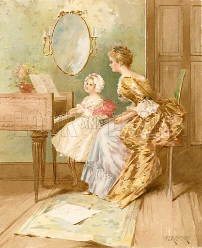 The Harpsichord Lesson. Illustration for Children of Colonial Days (Frederick A Stokes, 1894).