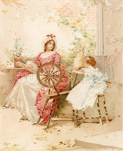 Learning to Spin. Illustration for Children of Colonial Days (Frederick A Stokes, 1894).