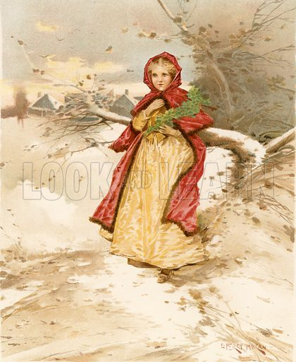 A Colonial Red Riding Hood. Illustration for Children of Colonial Days (Frederick A Stokes, 1894).
