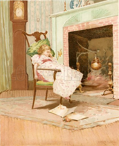 Dreaming before the Old Fireplace. Illustration for Children of Colonial Days (Frederick A Stokes, 1894).
