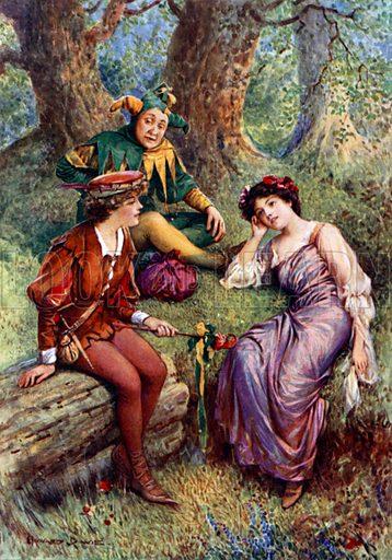 Rosalind, Celia and Touchstone. Illustration for Children's Stories from Shakespeare by E Nesbit (Raphael Tuck, c 1900).