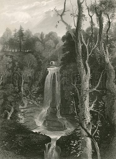 Falls of Acharn. Illustration for A History of the Highlands by James Browne (Fullarton, 1849-50).