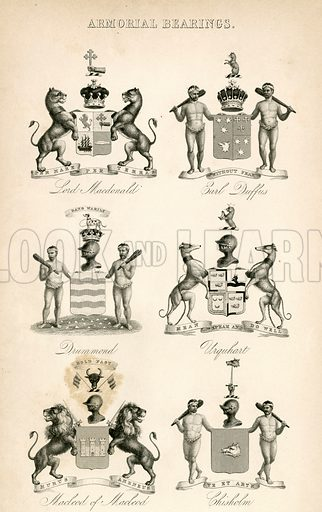 Armorial Bearings. Illustration for A History of the Highlands by James Browne (Fullarton, 1849–50).