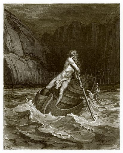Charon, the Ferryman of Hell. Engraving from The Dore Gallery (Cassell, c 1890).