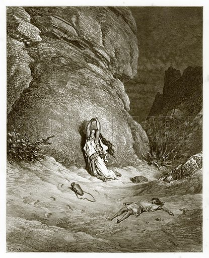 Hagar and Ishmael in the Desert. Engraving from The Dore Gallery (Cassell, c 1890).