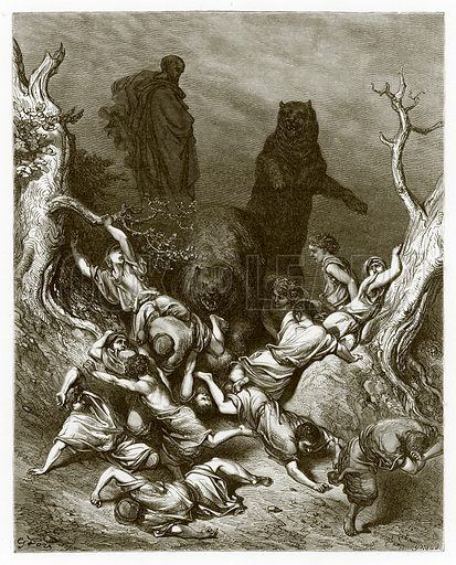 The Children Destroyed by Bears. Engraving from The Dore Gallery (Cassell, c 1890).