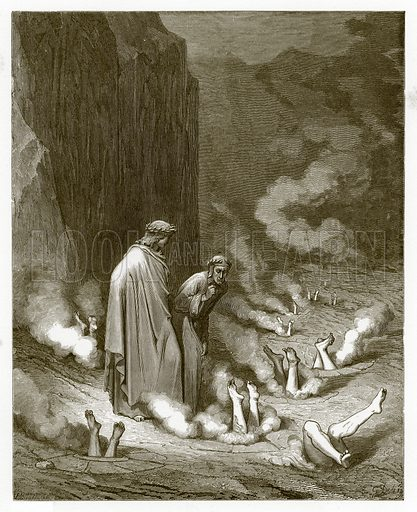The Punishment of Simonists. Engraving from The Dore Gallery (Cassell, c 1890).