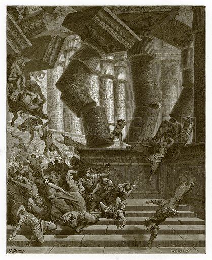 The Death of Samson. Engraving from The Dore Gallery (Cassell, c 1890).