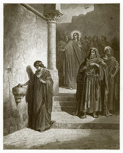 The Widow's Mite. Engraving from The Dore Gallery (Cassell, c 1890).