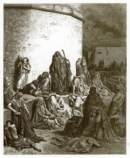 The People Mourning over Jerusalem. Engraving from The Dore Gallery (Cassell, c 1890).