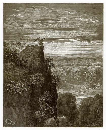 Satan Overlooking Paradise. Engraving from The Dore Gallery (Cassell, c 1890).
