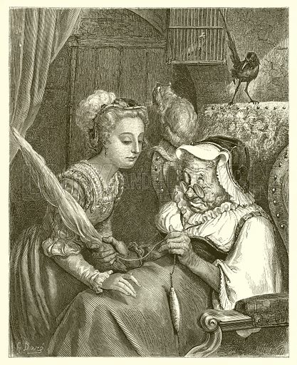 The Princess and Fairy Spite. Engraving from The Dore Gallery (Cassell, c 1890).