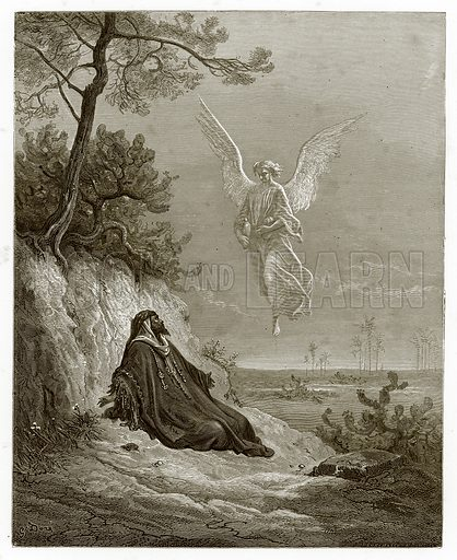 Elijah Nourished by an Angel. Engraving from The Dore Gallery (Cassell, c 1890).