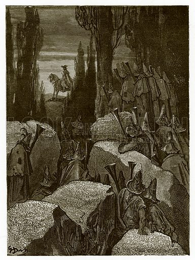 Munchausen Among the Brigands. Engraving from The Dore Gallery (Cassell, c 1890).