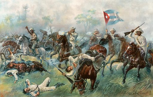 """The Battle of Desmayo--""""The Cuban Balaklava."""" Illustration for Harper's Pictorial History of the War with Spain (1899)."""
