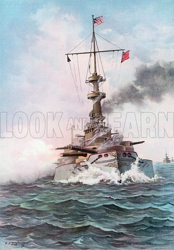 The United States Battle-Ship Indiana at Target Practice. Illustration for Harper's Pictorial History of the War with Spain (1899).