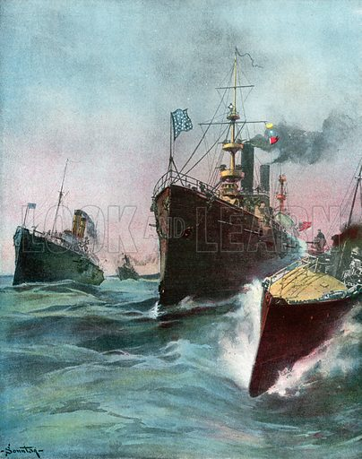 Imported Cruisers for the United States Navy. Illustration for Harper's Pictorial History of the War with Spain (1899).