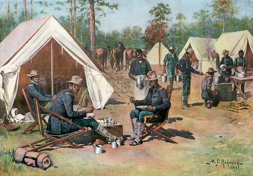 """""""Pease on a Trencher"""" – Officers' Mess, 9th US Cavalry, Port Tampa. Illustration for Harper's Pictorial History of the War with Spain (1899)."""