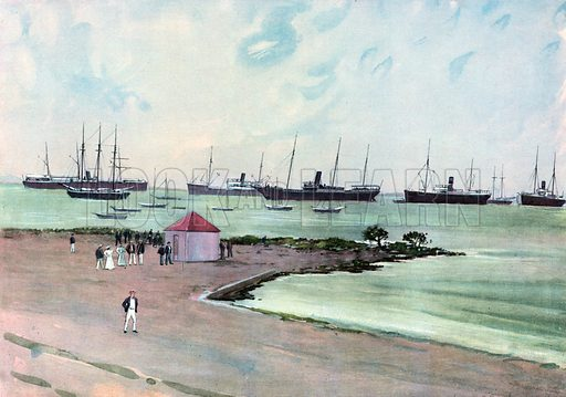 Captured Spanish Vessels at Anchor in Man-of-War Harbor, Key West. – View from the Esplanade near the United States Army Barracks. Illustration for Harper's Pictorial History of the War with Spain (1899).