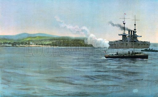 Admiral Sampson's Flag-Ship, the United States Armored Cruiser New York, Firing on a Coast-Guard of Spanish Cavalry, off Cabanas, April 29, 1898. Illustration for Harper's Pictorial History of the War with Spain (1899).