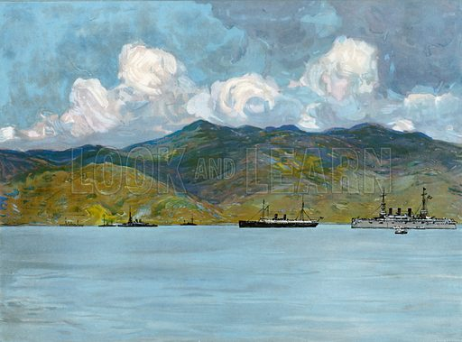 Our War-Ships off the Coast near Santiago de Cuba, June 3, 1898. Illustration for Harper's Pictorial History of the War with Spain (1899).