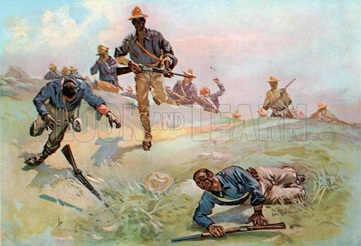 Troop C, Ninth US Cavalry, Captain, Leading the Charge at San Juan. Illustration for Harper's Pictorial History of the War with Spain (1899).