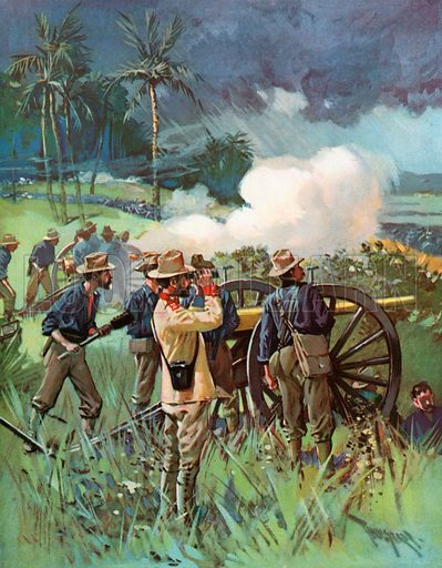 Field Artillery in Action. Illustration for Harper's Pictorial History of the War with Spain (1899).