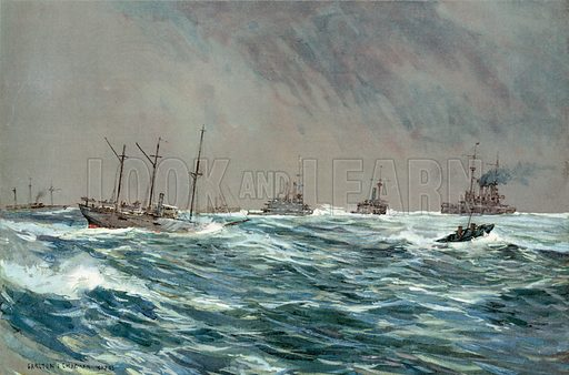 United States War-Ships in a Blow-Squally Weather off the Cuban Coast. Illustration for Harper's Pictorial History of the War with Spain (1899).