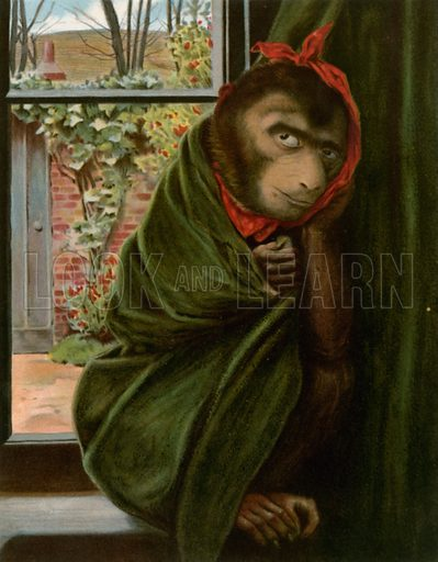 The Sick Monkey. Illustration for Chatterbox annual (Wells Gardner, early 20th century).