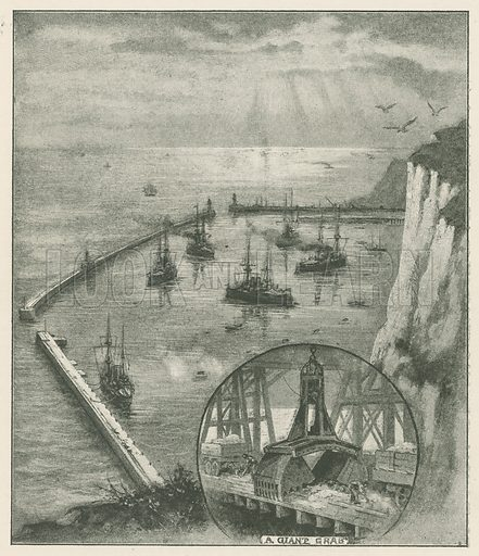 The New Harbour at Dover, from the Castle Cliffs. Illustration for Chatterbox annual (Wells Gardner, early 20th century).