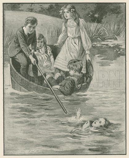 """""""'Keep Still! I will Save her!'"""" Illustration for Chatterbox annual (Wells Gardner, early 20th century)."""