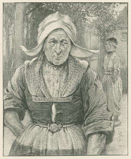 An Old Dutch Woman. Illustration for Chatterbox annual (Wells Gardner, early 20th century).