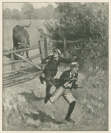 """They Flew as Fast as their Legs could Carry them."" Illustration for Chatterbox annual (Wells Gardner, early 20th century)."