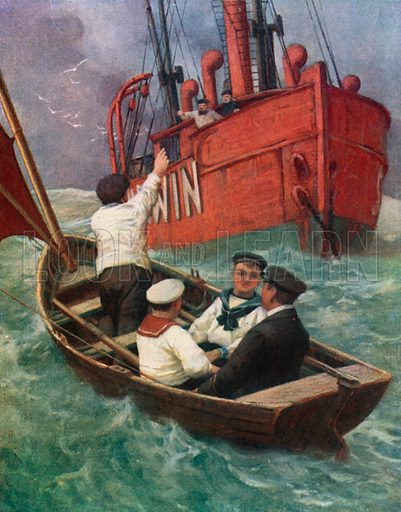 A Visit to the Lightship. Illustration for Chatterbox annual (Wells Gardner, early 20th century).