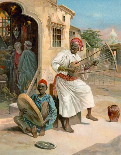 Moorish Musicians. Illustration for Chatterbox annual (Wells Gardner, early 20th century).