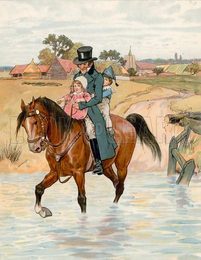 Crossing the Brook. Illustration for Chatterbox annual (Wells Gardner, early 20th century).
