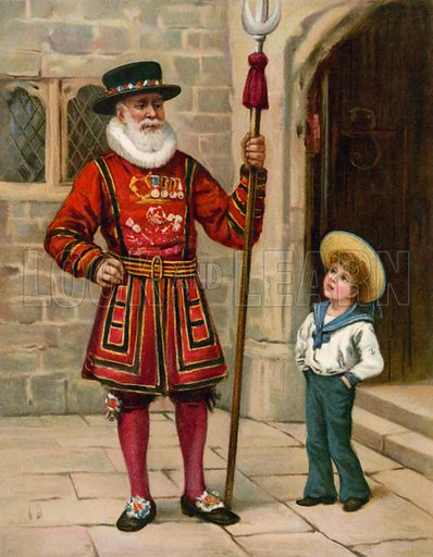 A Yeoman of the Guard. Illustration for Chatterbox annual (Wells Gardner, early 20th century).