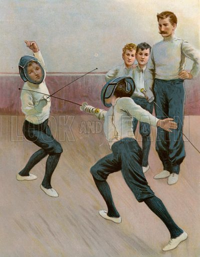 A Bout with the Foils. Illustration for Chatterbox annual (Wells Gardner, early 20th century).