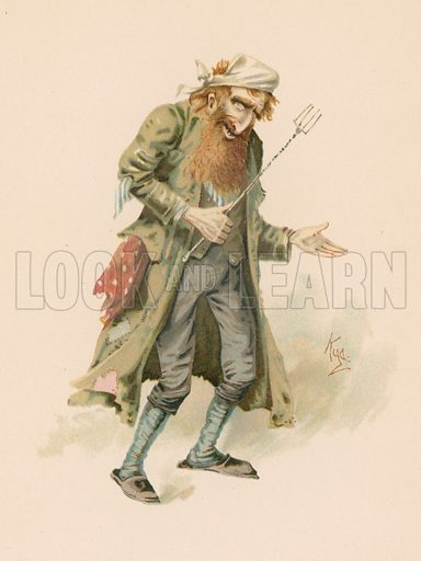 Fagin from Oliver Twist.  Illustration for Some Well-known Characters from the works of Charles Dickens (Hildesheimer & Faulkner, c 1890).
