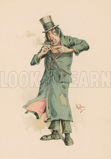 Codlin from The Old Curiosity Shop.  Illustration for Some Well-known Characters from the works of Charles Dickens (Hildesheimer & Faulkner, c 1890).