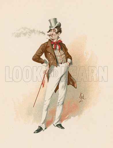 Dick Swiveller from Old Curiosity Shop.  Illustration for The Characters of Charles Dickens (Raphael Tuck, c 1890).