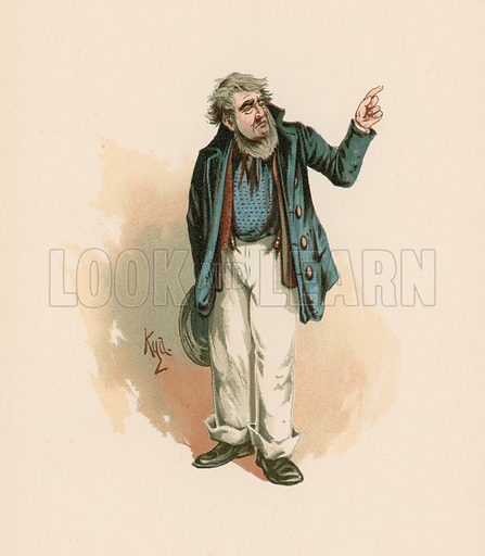 Mr Peggotty in David Copperfield. Illustration for The Characters of Charles Dickens (Raphael Tuck, c 1890).