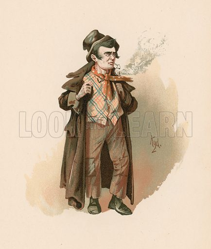 The Artful Dodger in Oliver Twist. Illustration for The Characters of Charles Dickens (Raphael Tuck, c 1890).