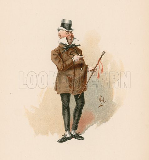 Mr Micawber in David Copperfield. Illustration for The Characters of Charles Dickens (Raphael Tuck, c 1890).