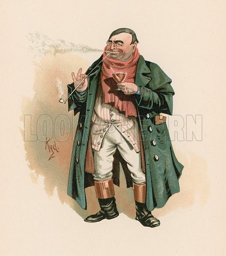 Mr Weller Senior in Pickwick Papers. Illustration for The Characters of Charles Dickens (Raphael Tuck, c 1890).
