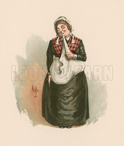Mrs Bardell in Pickwick Papers. Illustration for The Characters of Charles Dickens (Raphael Tuck, c 1890).