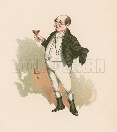 Mr Pickwick in Pickwick Papers.  Illustration for The Characters of Charles Dickens (Raphael Tuck, c 1890).
