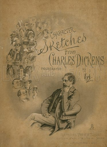 Charles Dickens and his Characters. Cover of The Characters of Charles Dickens (Raphael Tuck, c 1890).